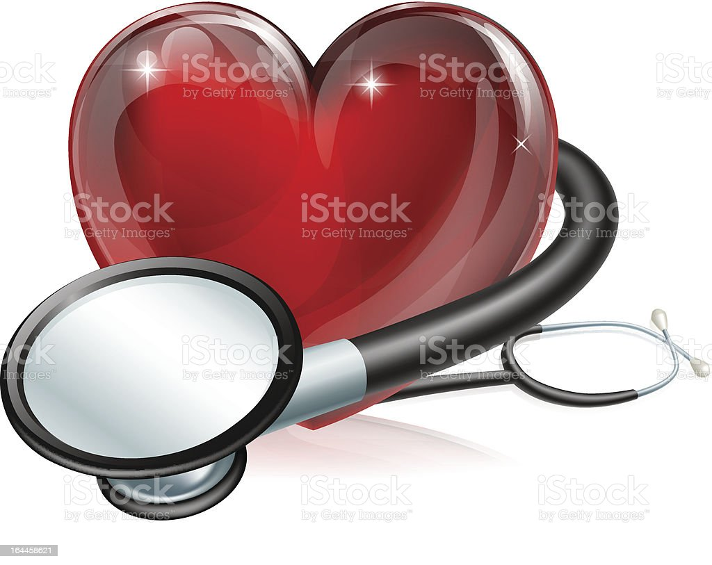 Heart symbol and stethoscope royalty-free stock vector art