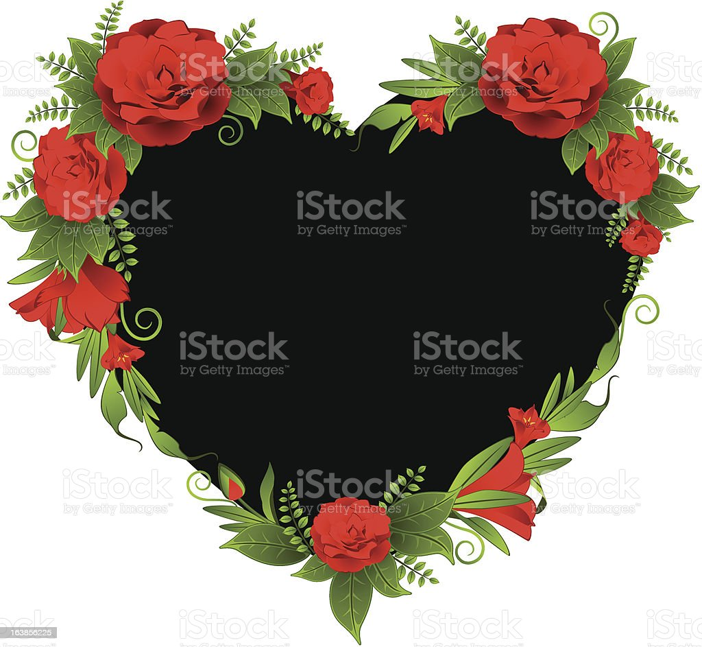 Heart with beautiful flowers. Vector royalty-free stock vector art