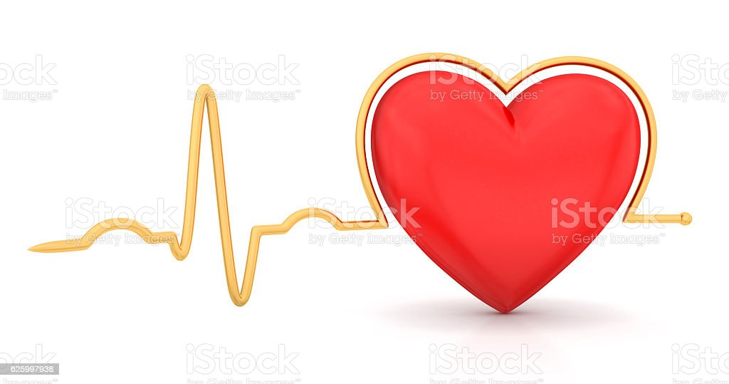 Heart with cardiogram vector art illustration