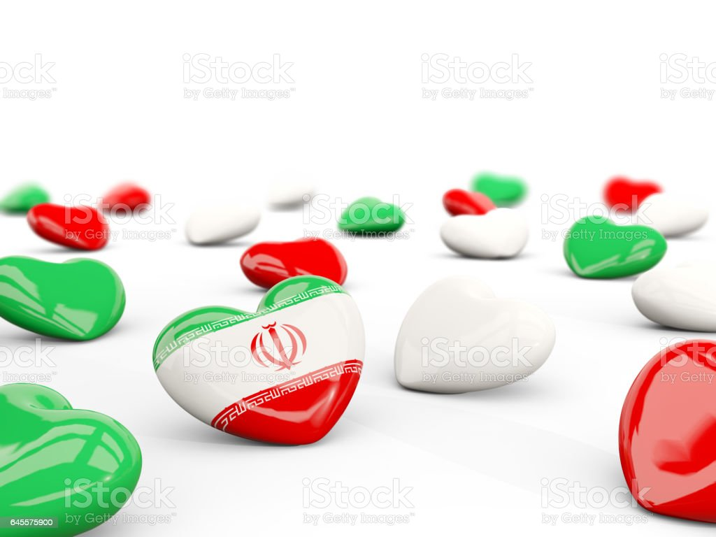 Heart with flag of iran isolated on white vector art illustration
