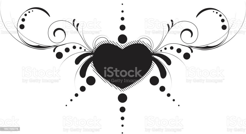 Heart with floral design royalty-free stock vector art