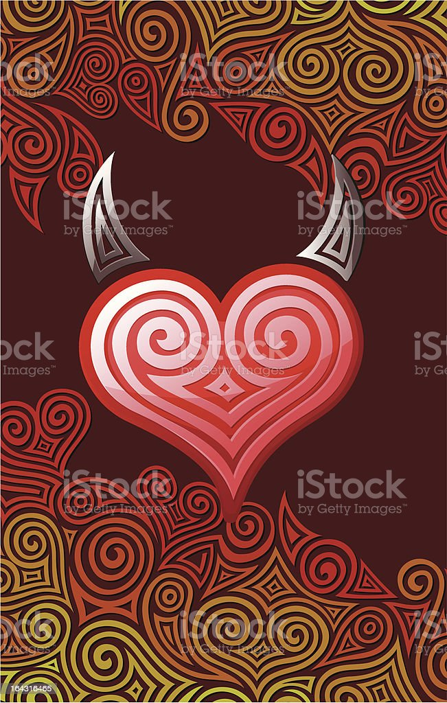 Heart with horns royalty-free stock vector art
