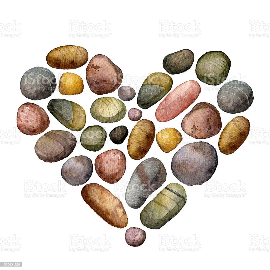 heart with sea stones drawing in watercolor vector art illustration