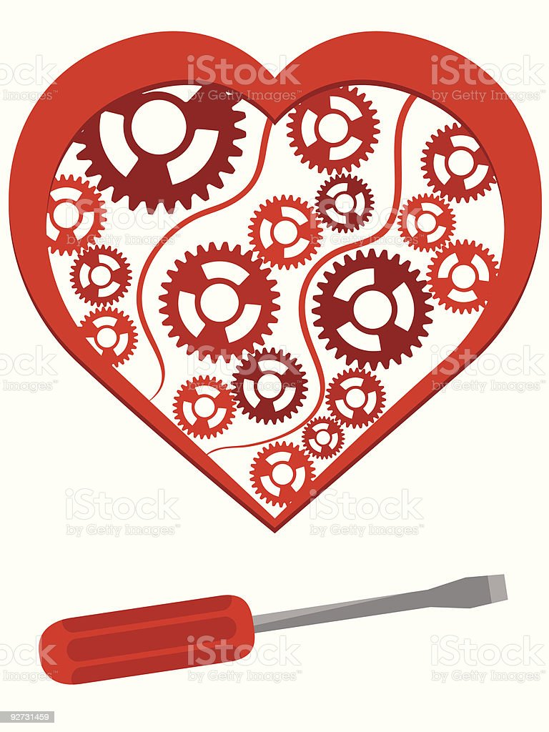 Heart with the mechanism royalty-free stock vector art