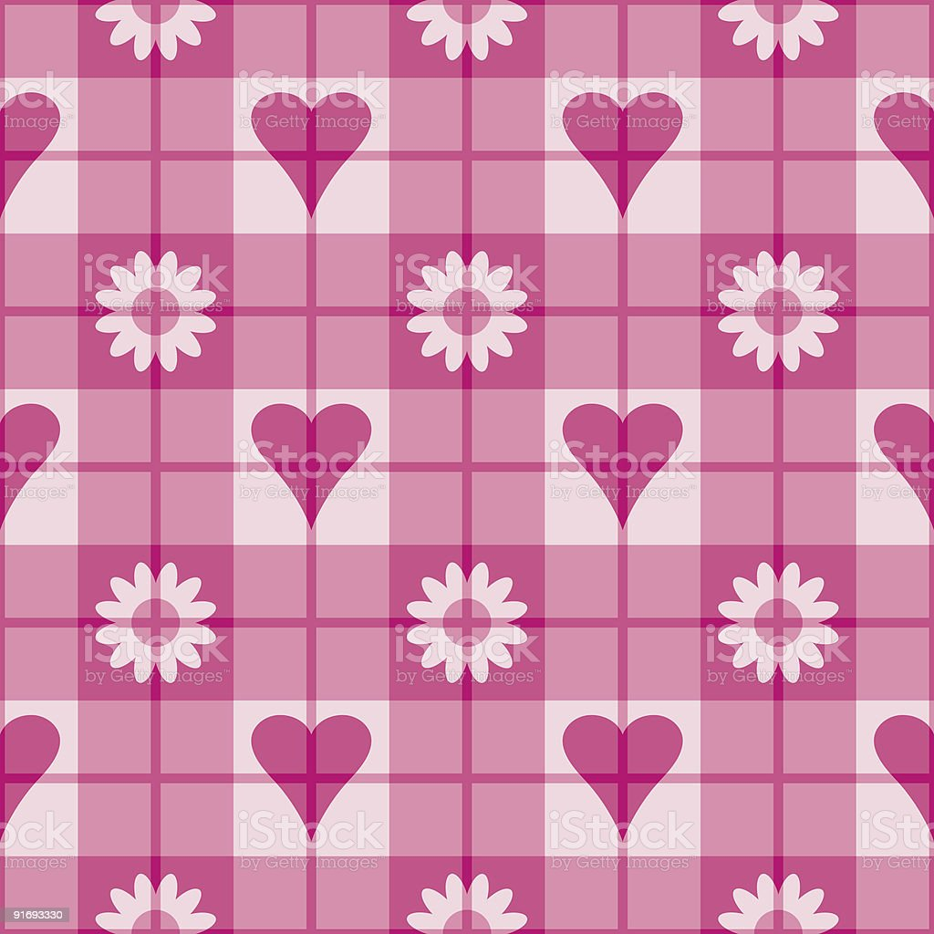 Hearts and Flowers Plaid royalty-free stock vector art