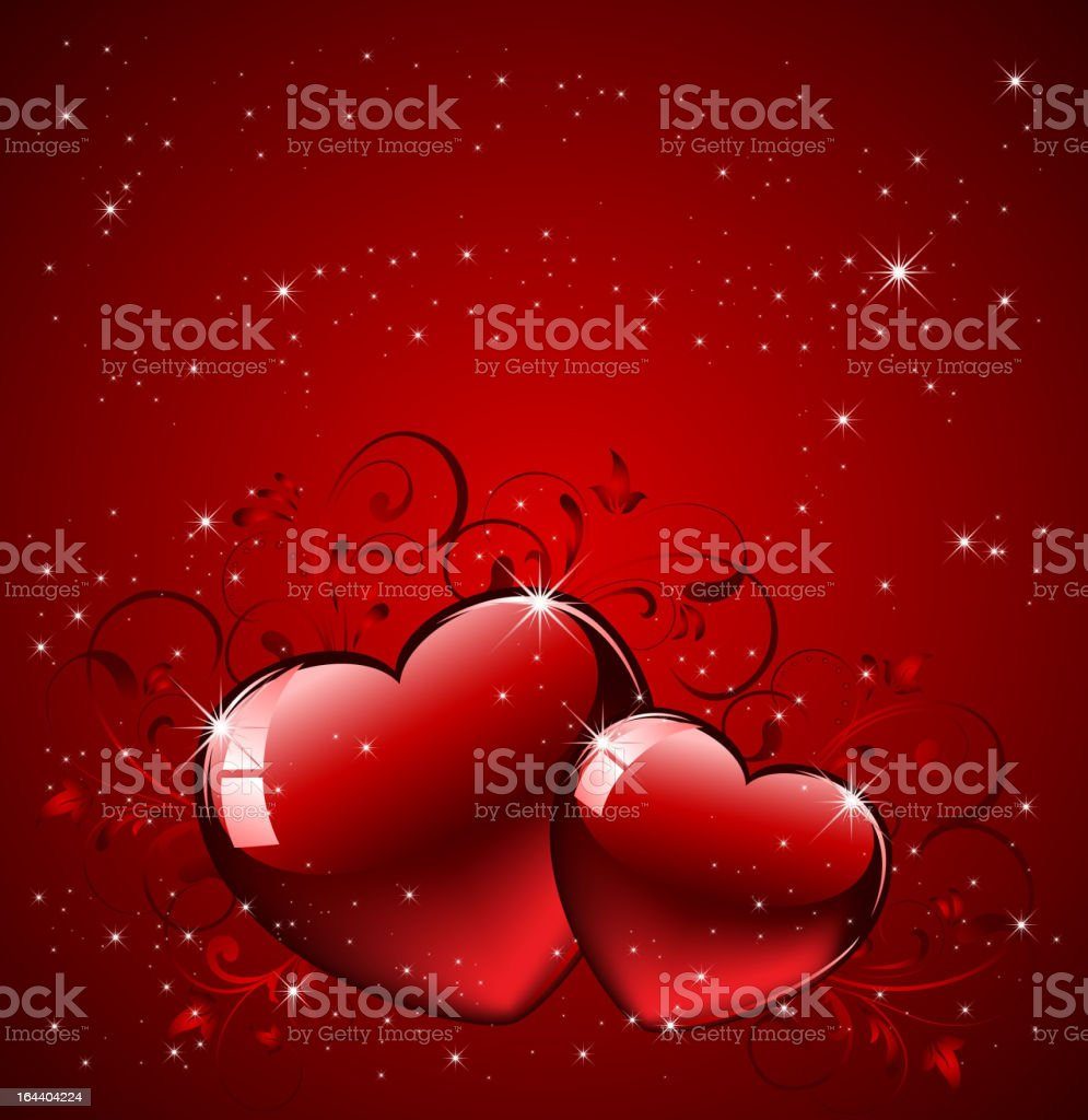 Hearts on red background royalty-free stock vector art