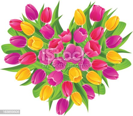 en forme de c ur bouquet de tulipes multicolores stock vecteur libres de droits 163859505 istock. Black Bedroom Furniture Sets. Home Design Ideas