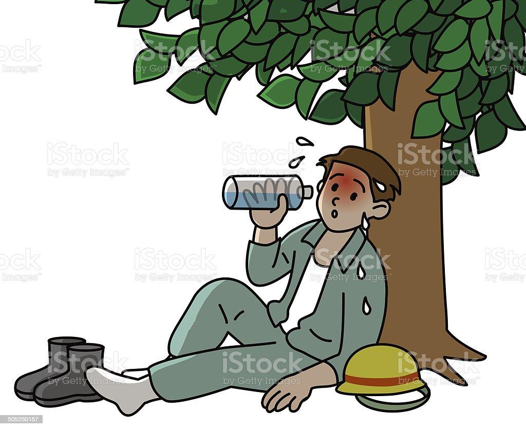 Heat stroke, worker vector art illustration