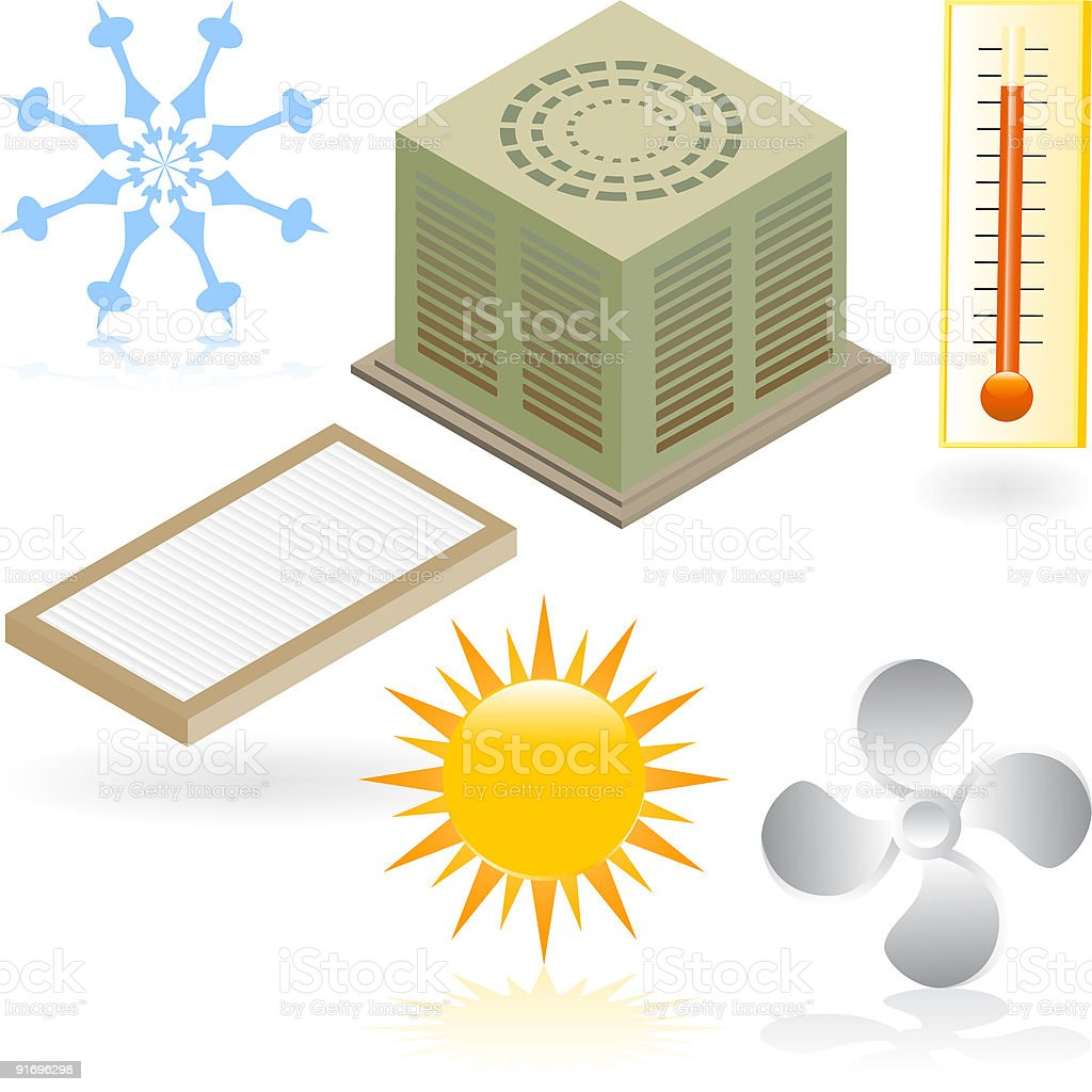 Heating and Cooling Icons royalty-free stock vector art