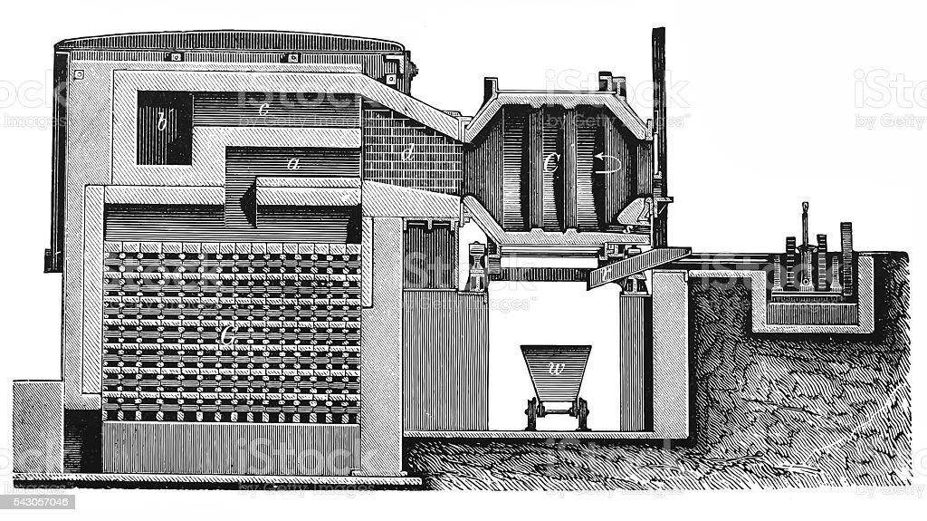 Heating Siemens, section of gasifier and oven vector art illustration