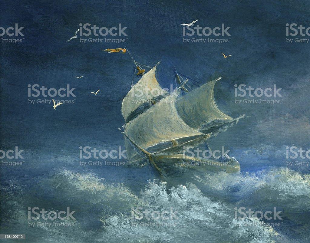 heavy gale vector art illustration