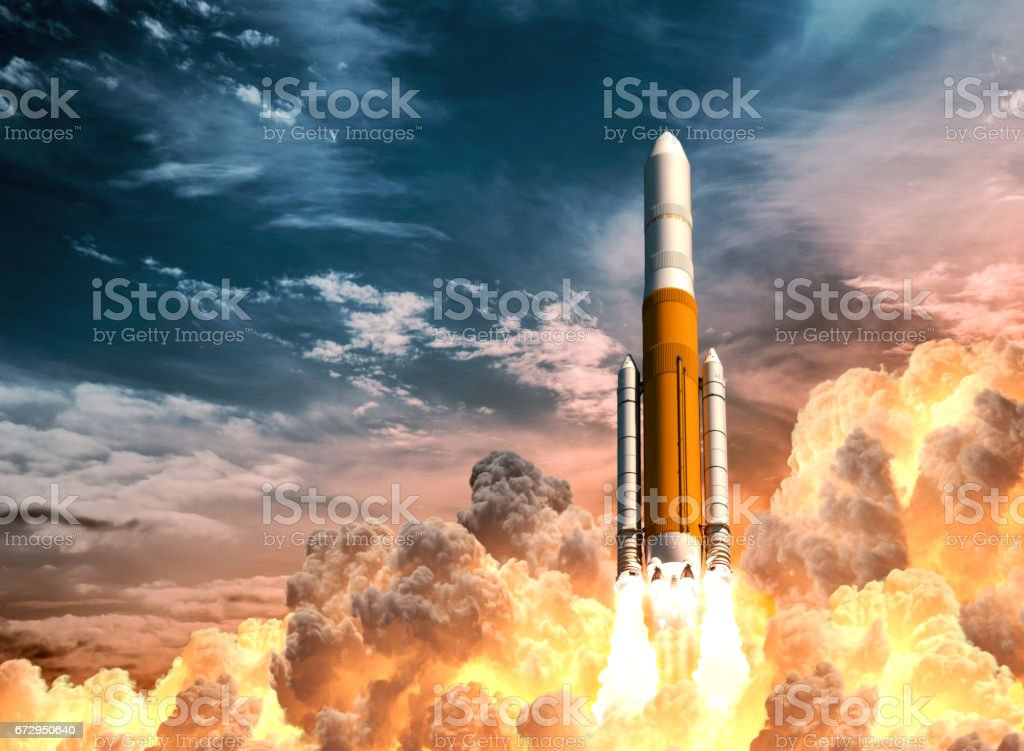 Heavy Rocket Launch On The Background Of Cloudy Sky vector art illustration