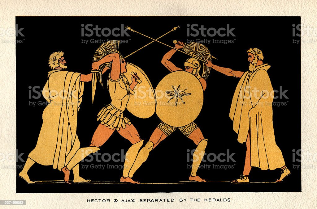 Hector and Ajax separated by the Heralds vector art illustration