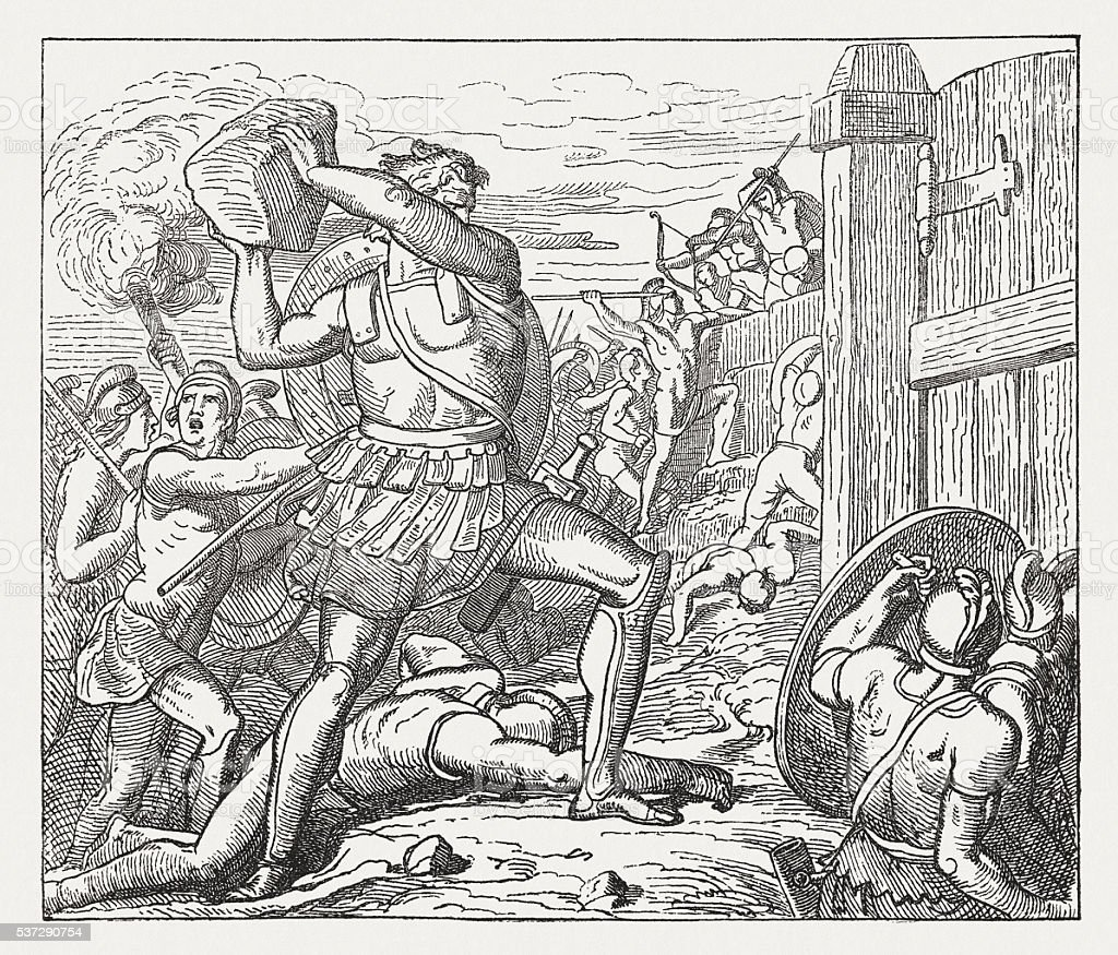 Hector throw stones against the wall of the Greeks vector art illustration