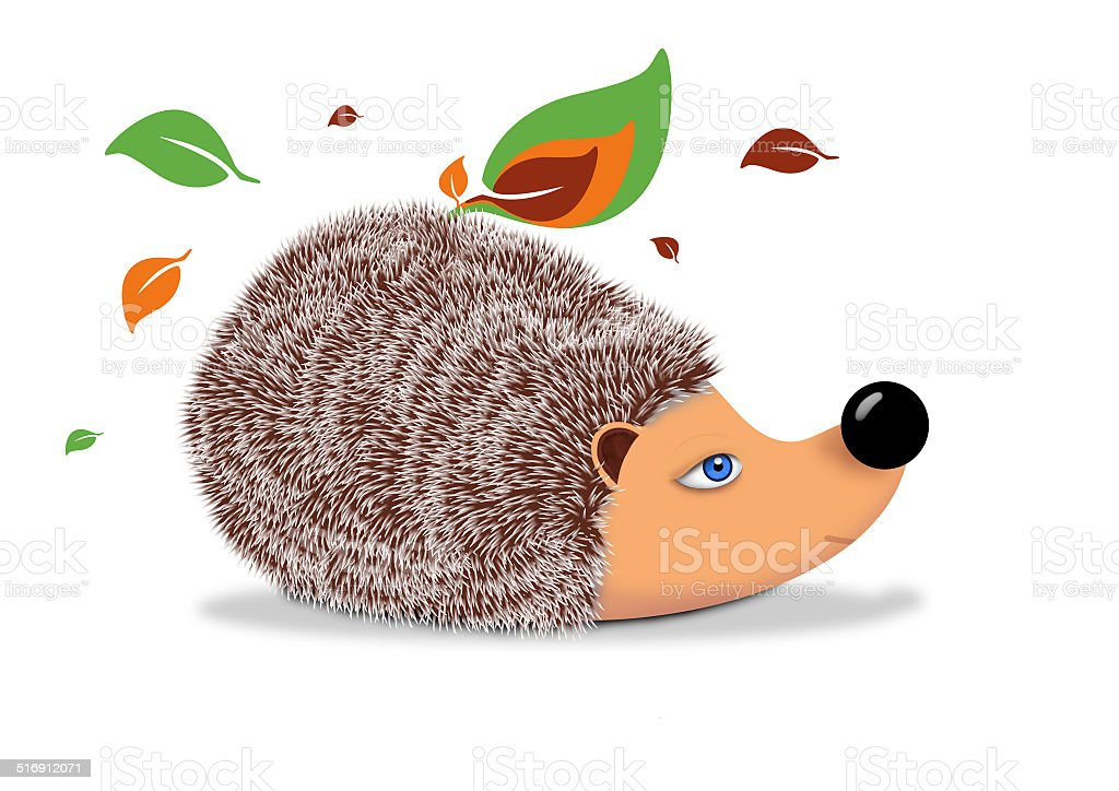 Hedgehog with leaves royalty-free stock vector art