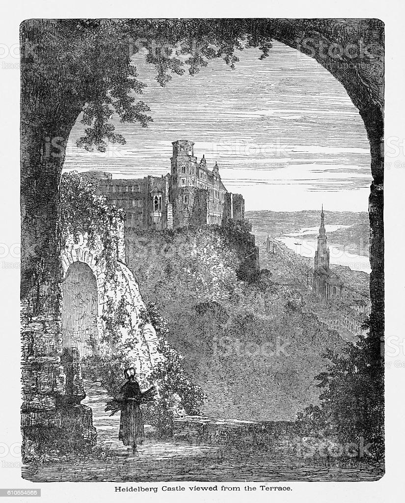 Heidelberg Castle Viewed from Terrace in Heidelberg, Germany Circa 1887 vector art illustration