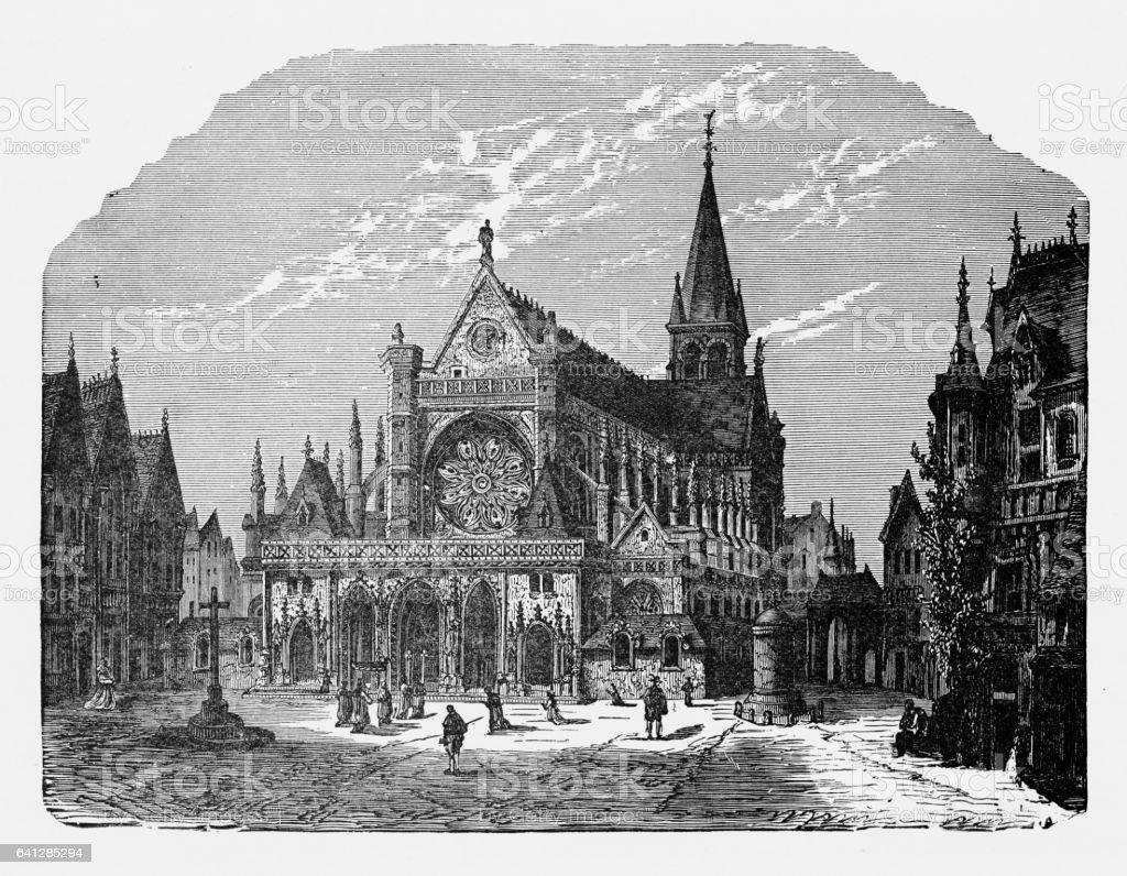 Heidelberg Cathedral in Heidelberg, Germany Circa 1887 vector art illustration