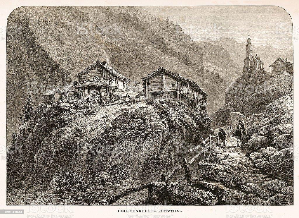 Heiligenkreuz, Austria (antique wood engraving) royalty-free stock vector art