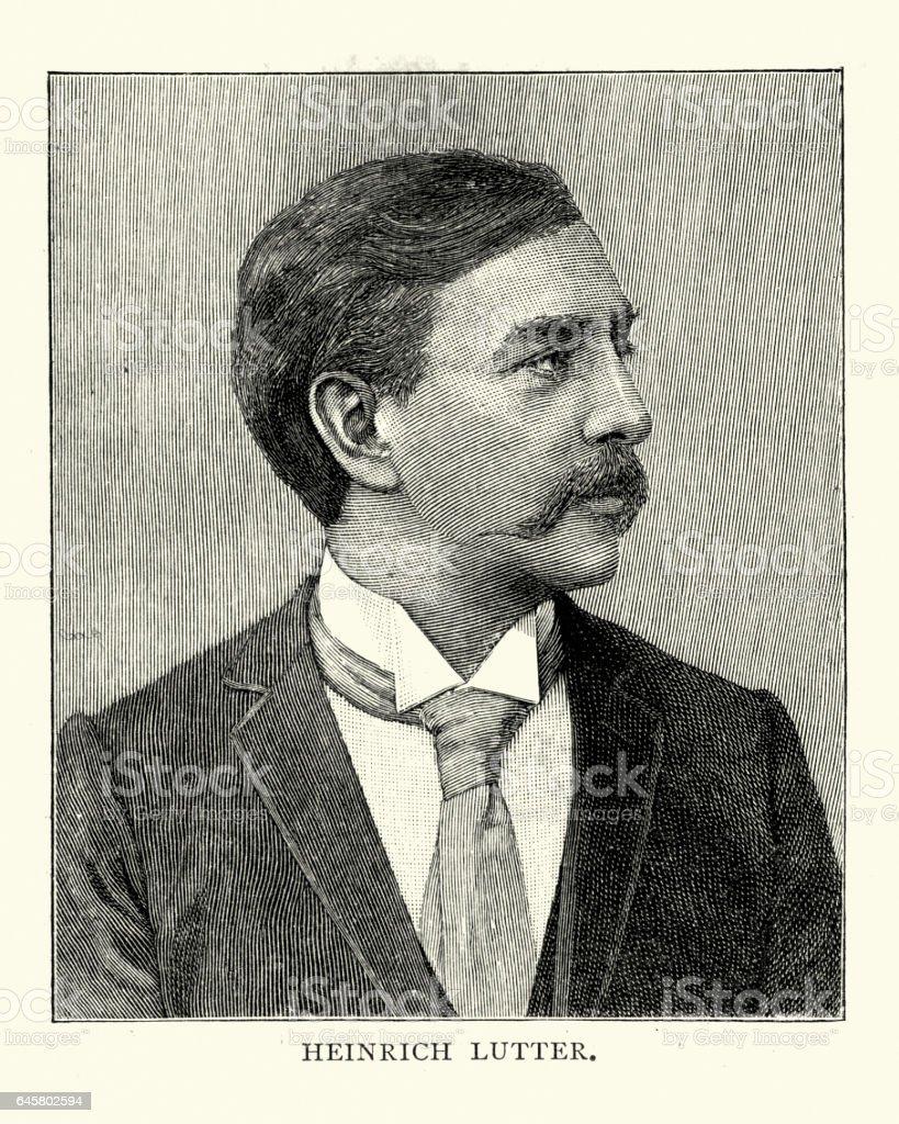 Heinrich Lutter - pianist vector art illustration