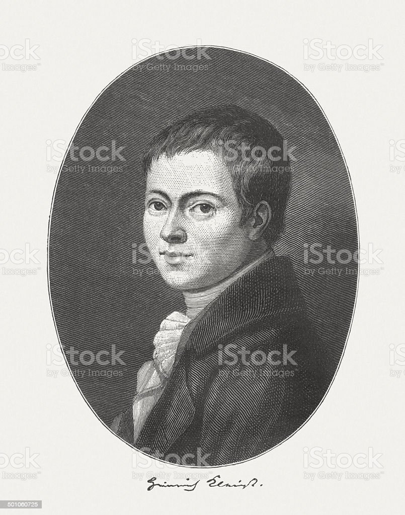 Heinrich von Kleist (1777-1811), German dramatist, wood engraving, published 1882 royalty-free stock vector art