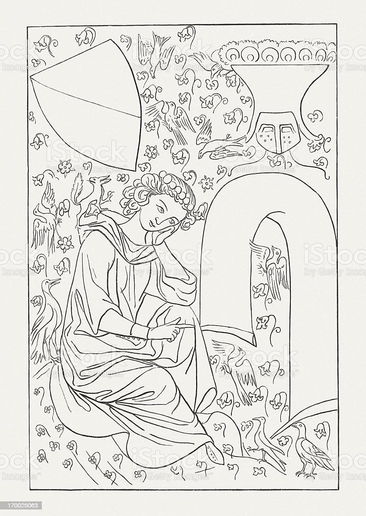 Heinrich von Veldeke, Codex Menasse, wood engraving, published in 1879 royalty-free stock vector art