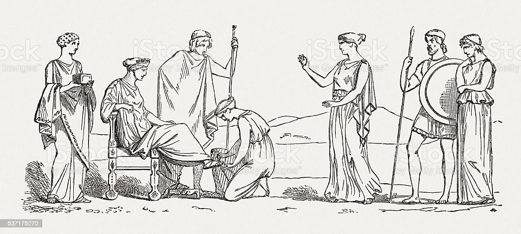Helena's beauty care, Greek mythology, wood engraving, published in 1880 vector art illustration