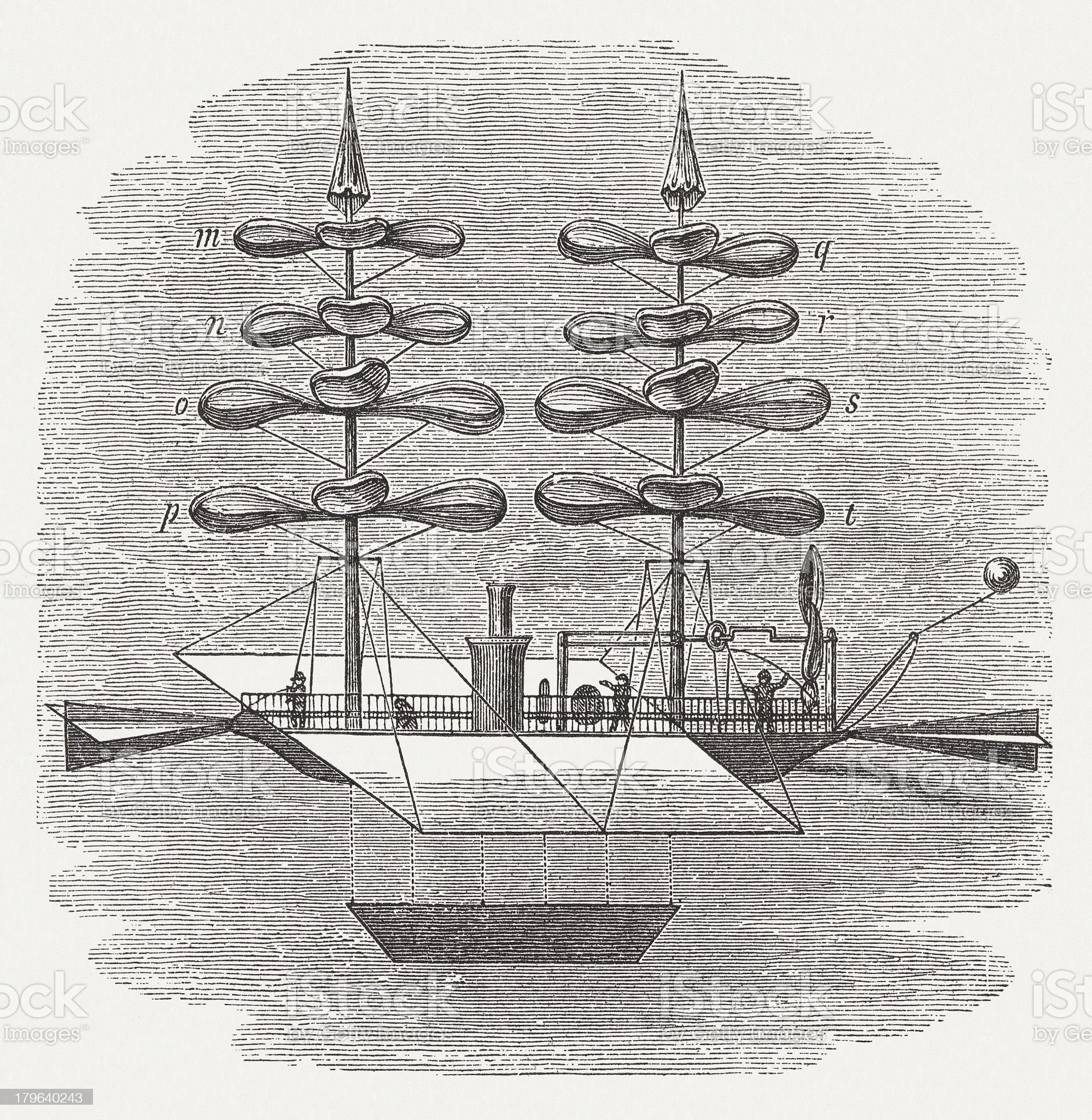 Helicopter by de La Landelle (1812-1886), visuael construction, published 1882 royalty-free stock vector art