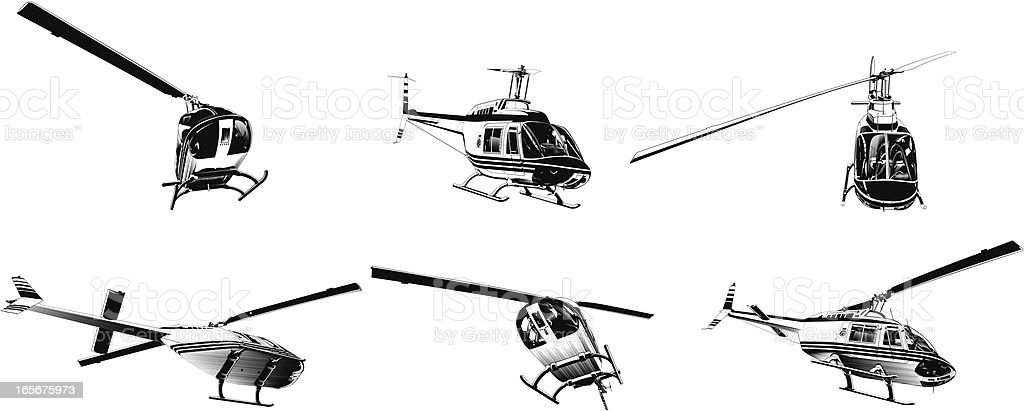 Helicopters in flight royalty-free stock vector art