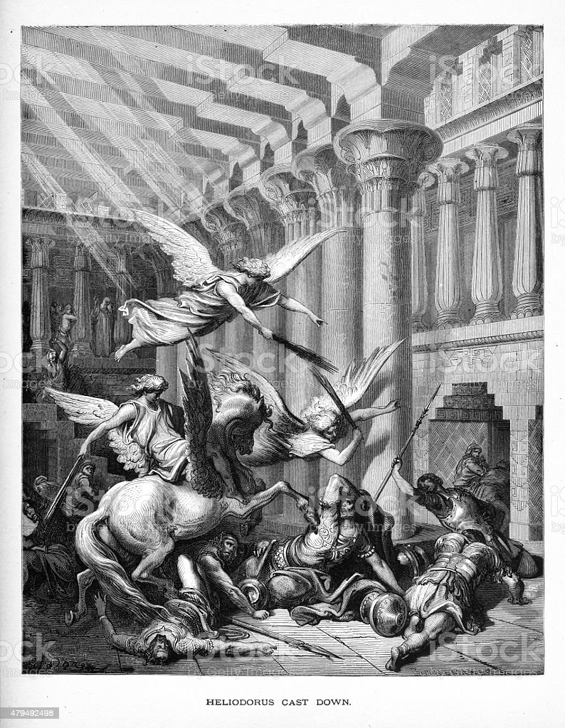 Heliodorus Cast Down Biblical Engraving vector art illustration