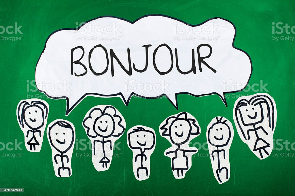Hello in French Language / French Word Bonjour in Speech Bubble vector art illustration