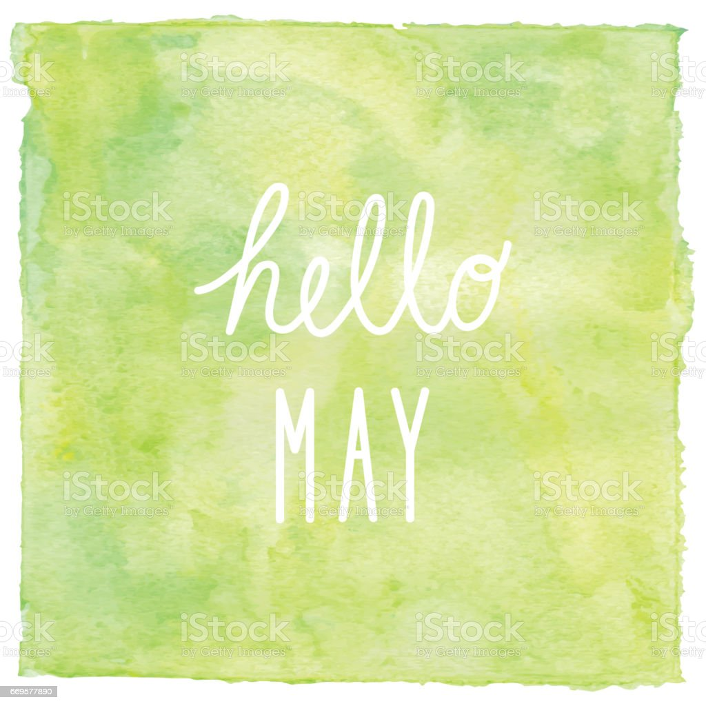 Hello May text on green watercolor background vector art illustration