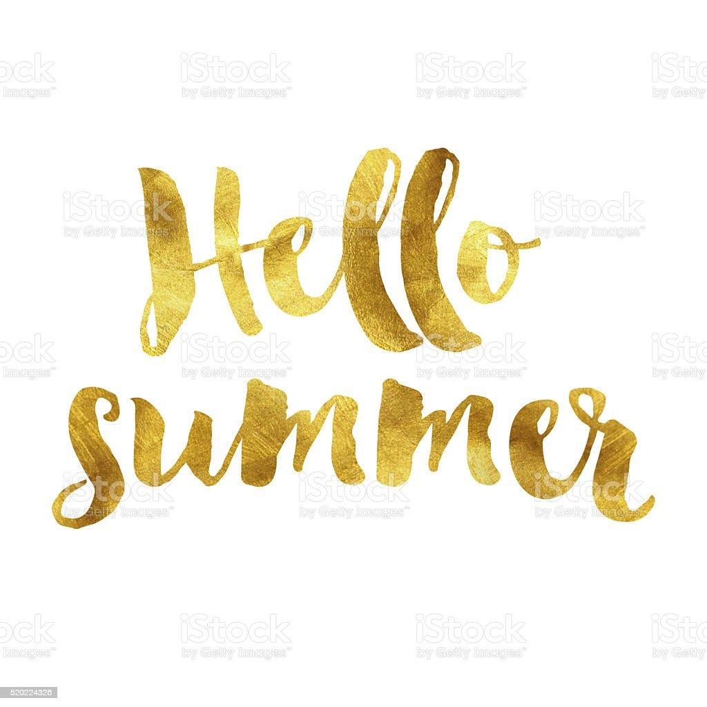 Hello summer gold foil message vector art illustration