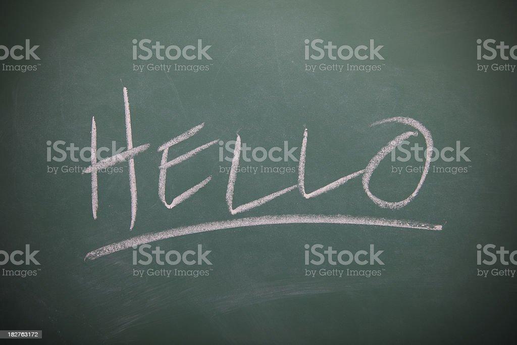 Hello written on a chalkboard royalty-free stock vector art