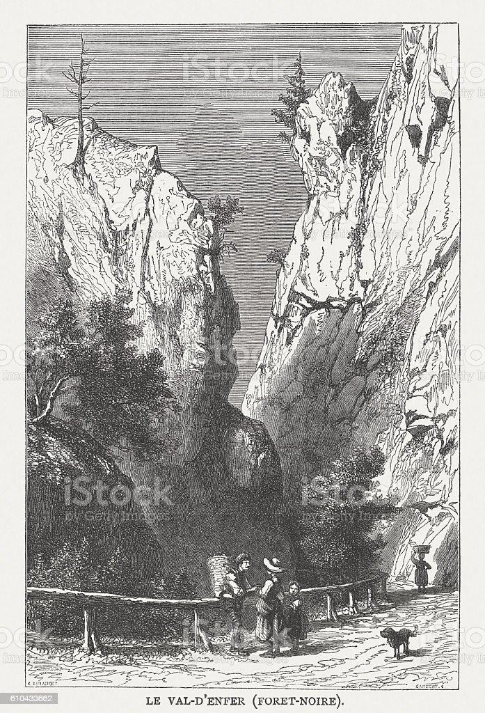 Hell's Valley in Black Forest, Germany, wood engraving, published 1877 vector art illustration