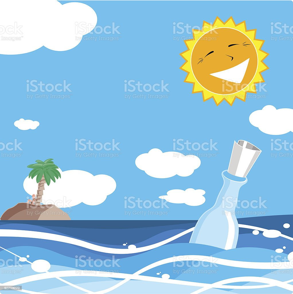 help message in a bottle royalty-free stock vector art