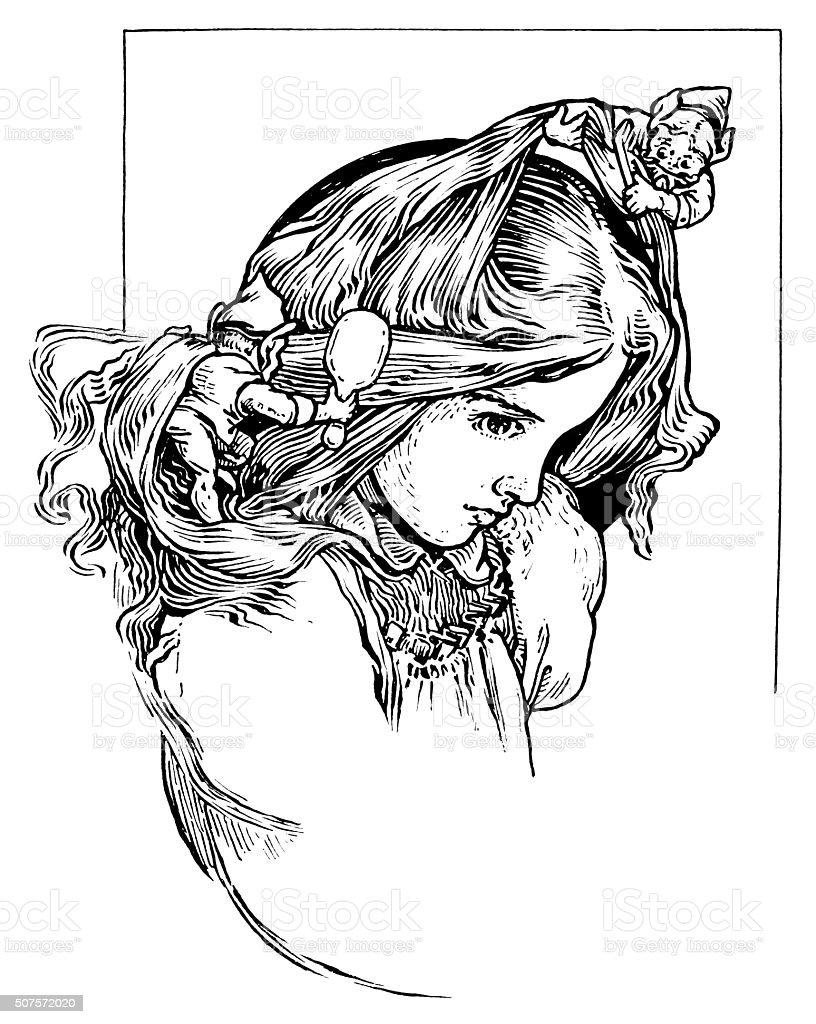 Helpful goblins brushing a girl's hair vector art illustration