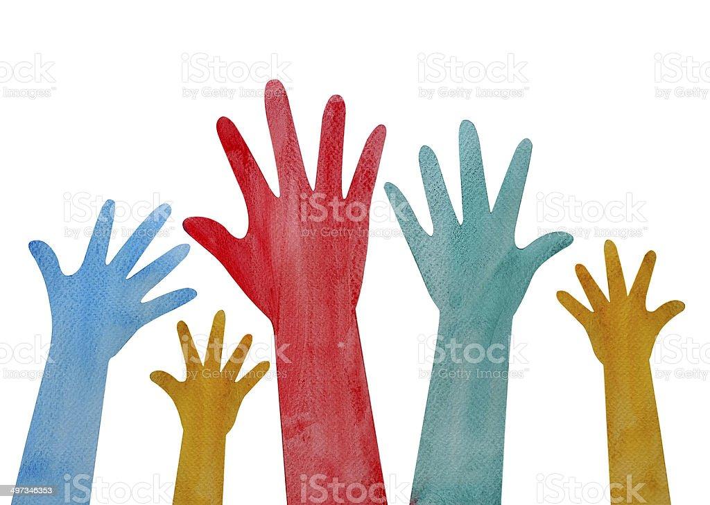 helping hand painting vector art illustration