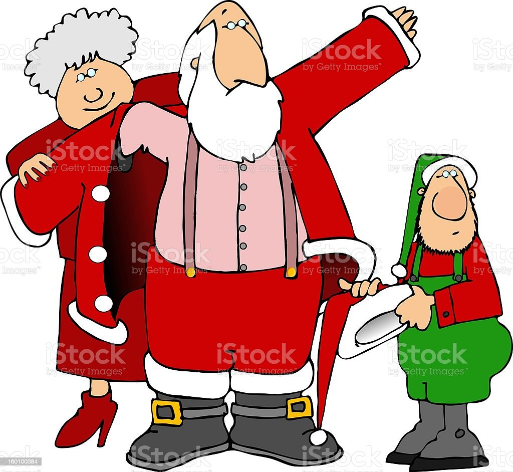 Helping Santa get dressed royalty-free stock vector art