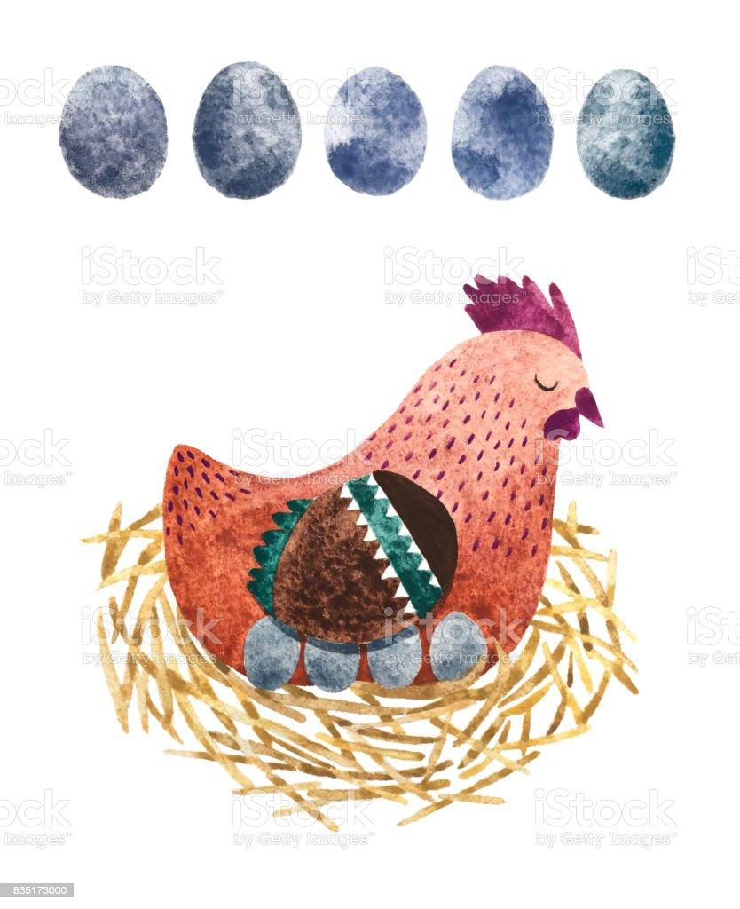 Hen and eggs vector art illustration