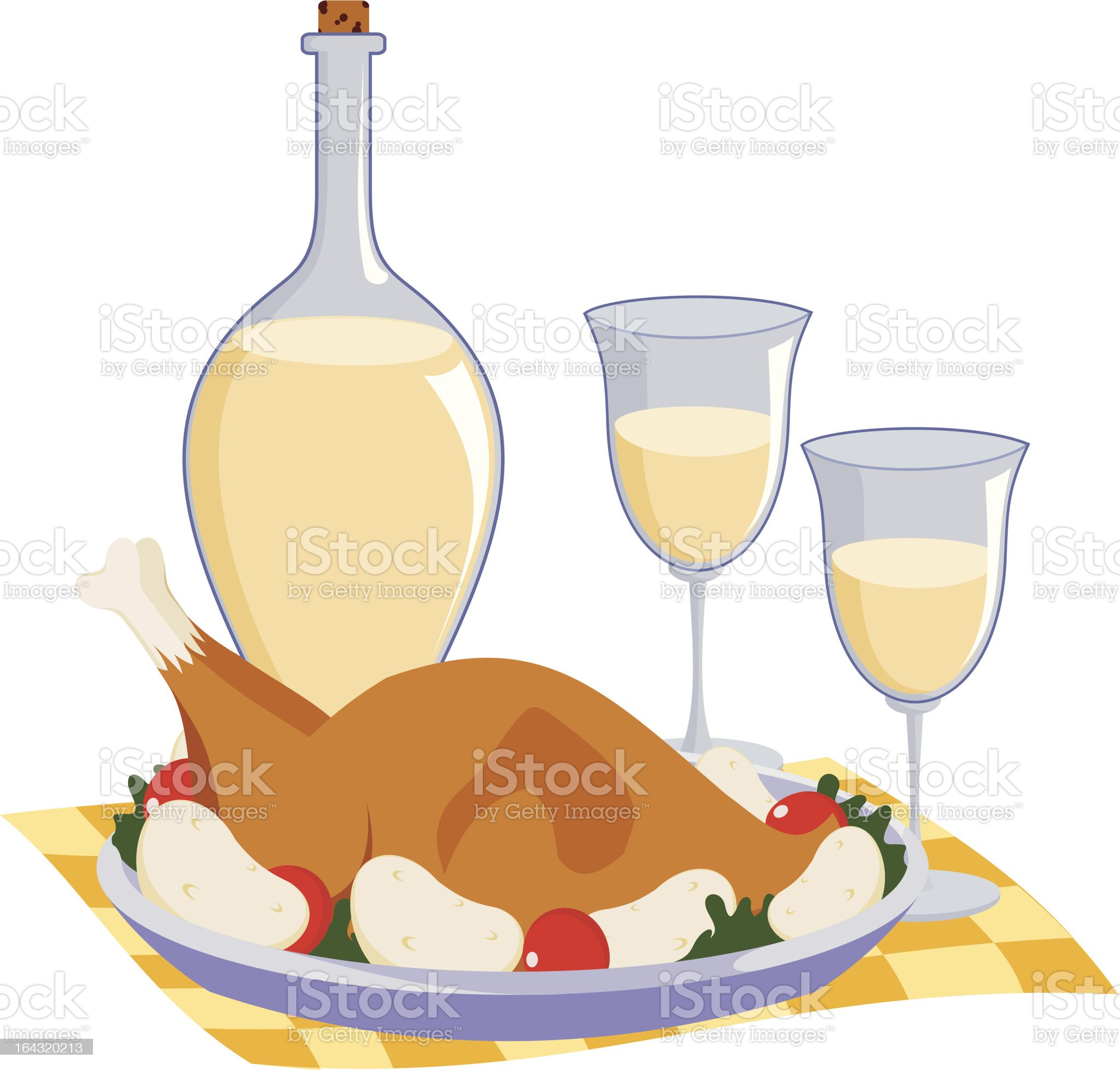 hen with white wine royalty-free stock vector art