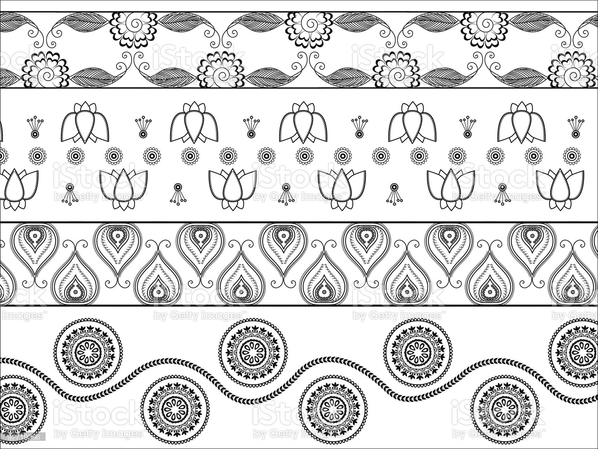 Henna border designs royalty-free stock vector art