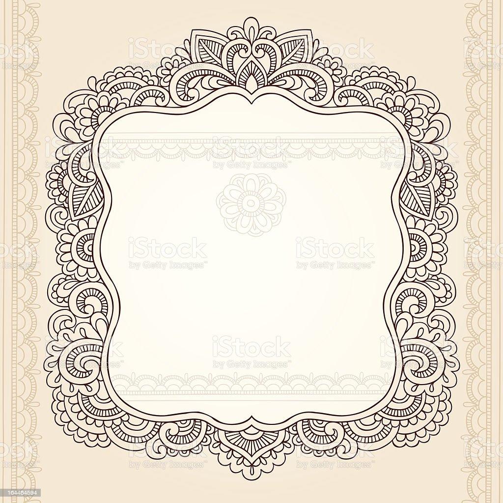 Henna Mehndi Elegant Frame Doodles Vector Elements royalty-free stock vector art