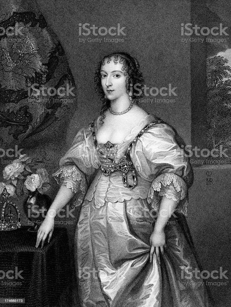 Henrietta Maria, Queen of Charles I royalty-free stock vector art