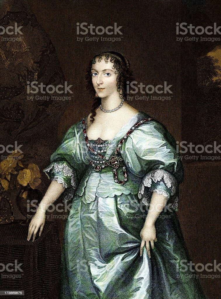 Henrietta Maria, Queen of England royalty-free stock vector art
