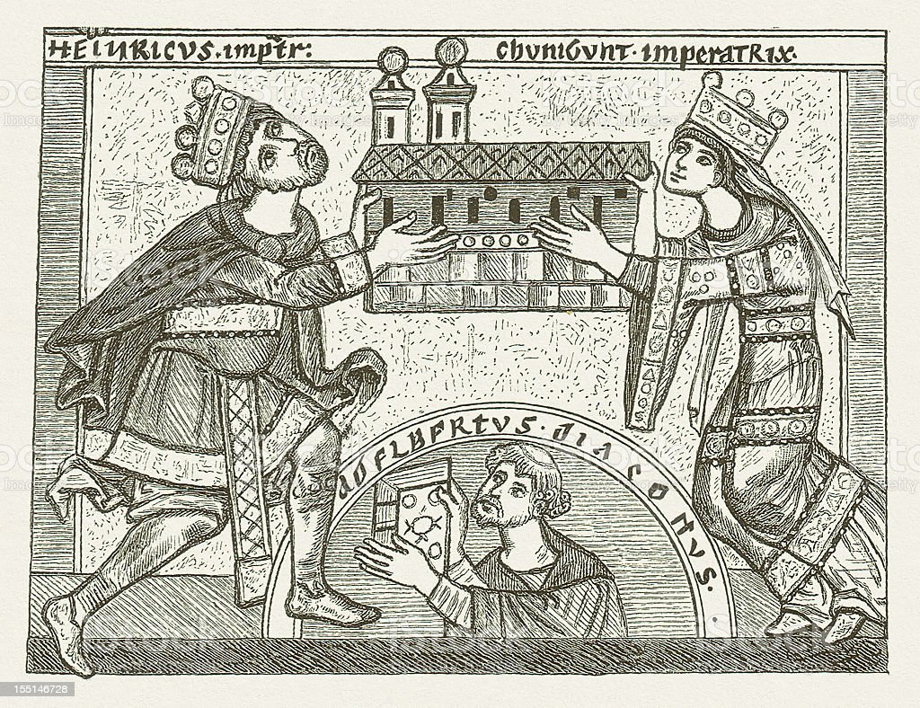 Henry and Cunigunde as builder of the Bamberg Cathedral, 1004 vector art illustration