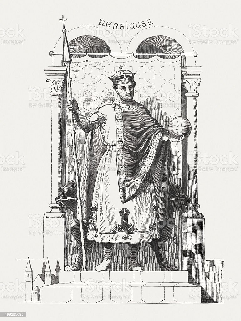 Henry II (973-1024), Holy Roman Emperor, published in 1876 vector art illustration