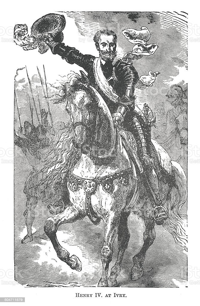 Henry IV. at Ivry (antique engraving) royalty-free stock vector art