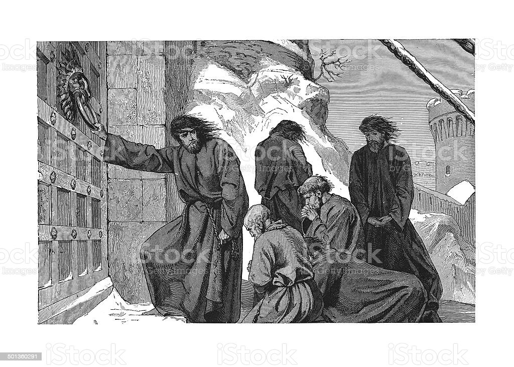 Henry IV doing penance at Canossa (antique engraving) vector art illustration