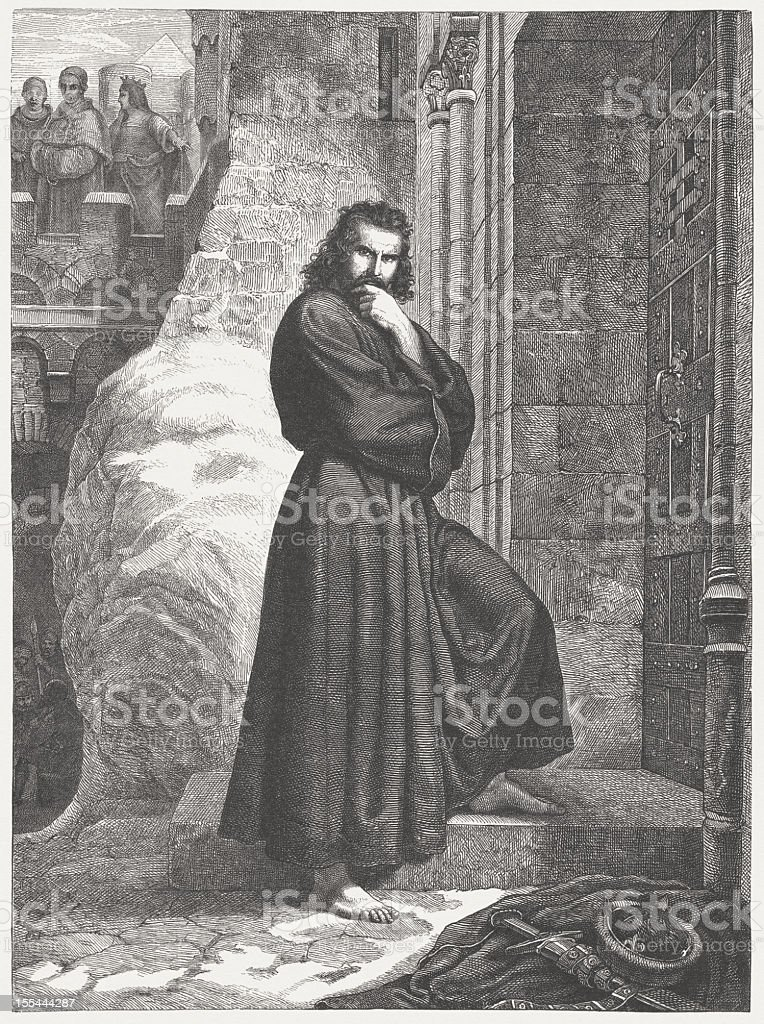 Henry IV in the Castle of Canossa in 1077 royalty-free stock vector art