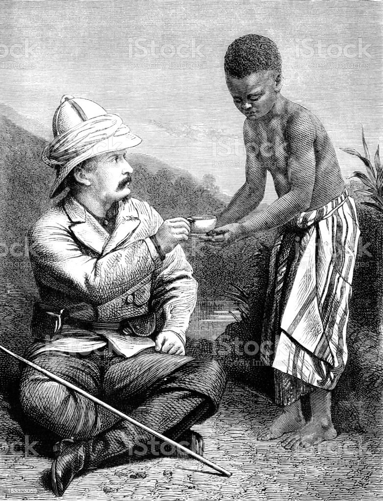 Henry Morton Stanley and Kalulu, the African Boy vector art illustration